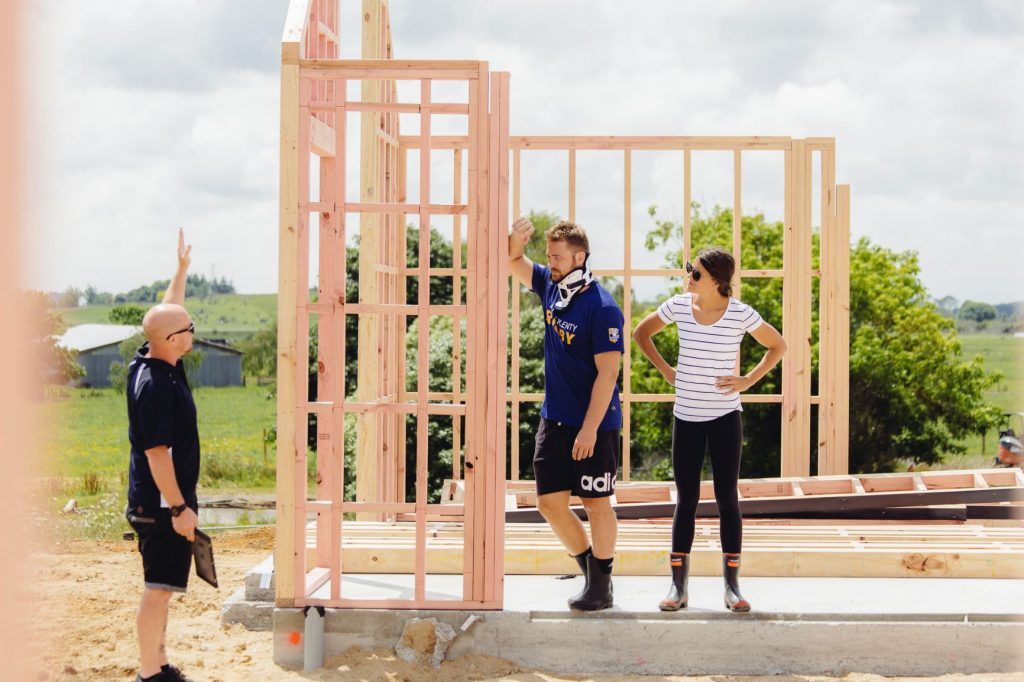 Sam and Harriet on site at their Urban Homes build