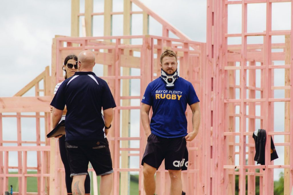 Sam Cane on site at his new Urban Homes build